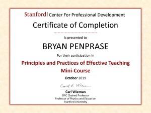 Bryan Penprase certificate